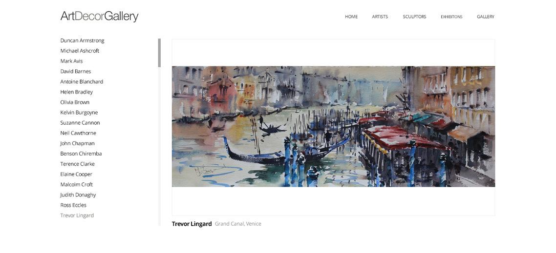 Website Artist List Page